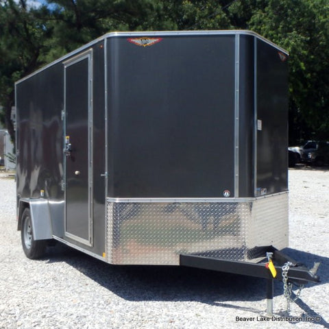 "7X12 Single V-Nose Cargo Trailer with 6"" Extra Height Rear Ramp Undercoating & Smooth Rivetless Exterior.  REDUCED FROM $3885"
