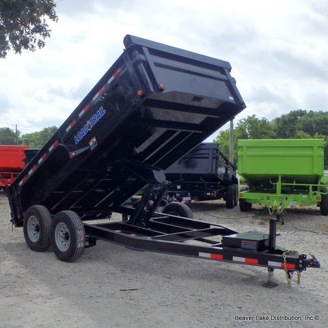 "83X14 Tandem Axle LOW-PRO Dump Trailer 24"" Dump Sides 3-Way Gate Rear Slide-In Ramps & LED Lights"