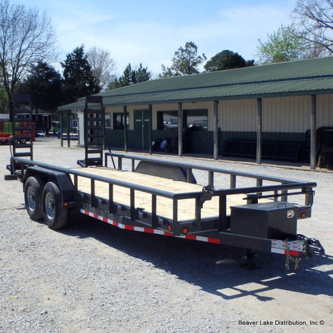 "83X20 14K Equipment Trailer With Fold Up Ramps 16"" Radial& LED Lights Tires"