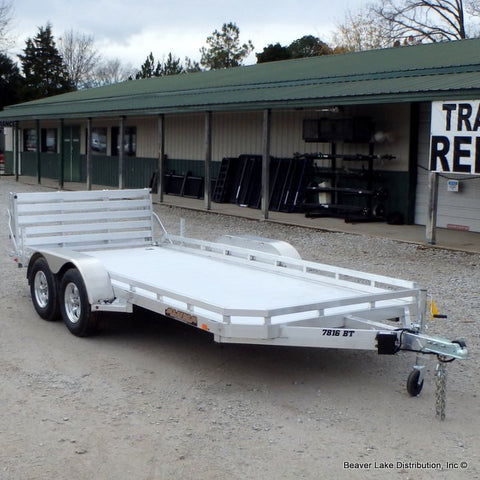 "78x16 Tandem Torsion Axle Aluminum Utility Trailer with 5' Bi-Fold Tailgate 14"" Radial Tires and LED Lights"