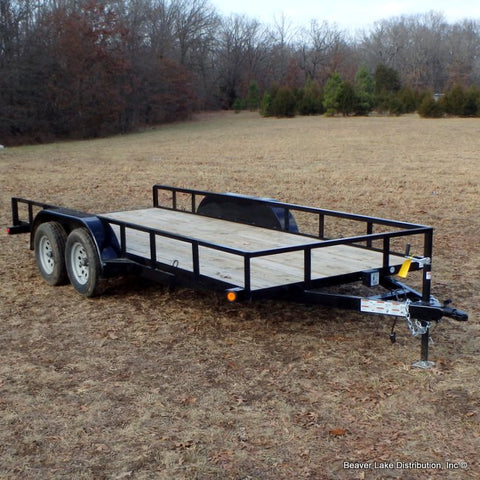 77X16 Tandem Axle Utility Trailer Slide In Ramps Radial Tires and LED Lights