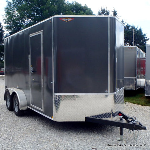 7X14 Tandem Axle V-Nose Cargo Trailer with Extra Height Rear Ramp Radials & LED Lights
