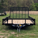 83X14 Single Axle Utility Trailer 4' Fold Gate Side Rail Ramps Radial Tires and LED Lights
