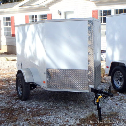 4X6 Single Axle V-Nose Cargo Trailer W/Single Rear Door, Radial Tires & LED Lights