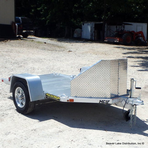 51X8 Single Axle Aluminum Folding Motorcycle Trailer W/Rock Guard, Radial Tires & LED Lights