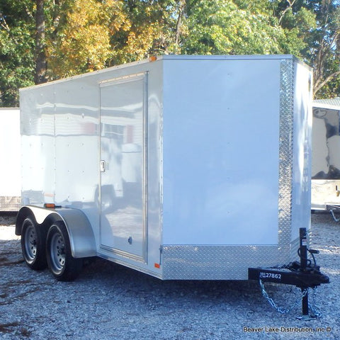 "6x12 Tandem Axle V-Nose Cargo Trailer with Double Rear Doors and 15"" Nitro Filled Radial Tires"