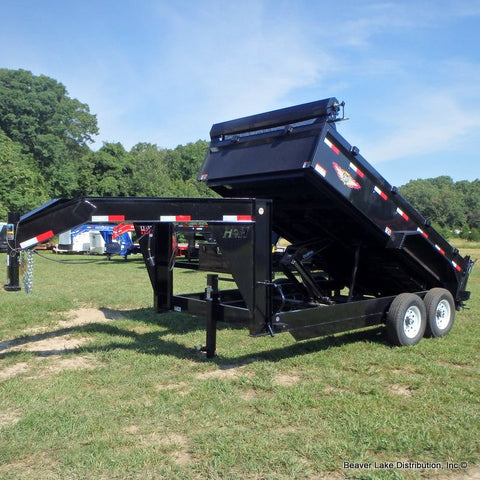 "83X14 Tandem Axle Gooseneck Dump Trailer with Barn Door Rear Slide Out Ramps 16"" Radial Tires & LED Lights"