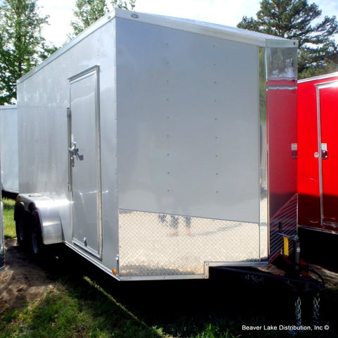 "7x14 UTV SERIES- Tandem Axle Slanted V-Nose Cargo Trailer with 78"" Interior Height 24"" Beaver Tail Rear Ramp and LED Lights"