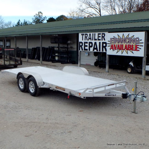 82X18 Aluma Car Hauler with Gravity Tilt Deck NO RAMPS NEEDED Smooth Riding Torsion Axles