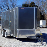 "7X12 Tandem Axle V-Nose Cargo Trailer w/ 6"" Extra Height Rear Ramp Radial Tires & LED Lights"