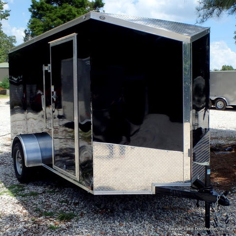 "6X12 Single Axle Slanted V-Nose Cargo Trailer with Rear Ramp 15"" Radial Tires & LED Lights"