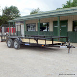 "77x16 Tandem Axle Utility Trailer with 4' Fold Gate 15"" Radial Tires and LED Lights"