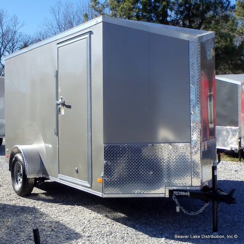 6X12 Single Axle Slanted V-Nose Cargo Trailer with Extra Height Smooth Screwless Exterior and LED Lights