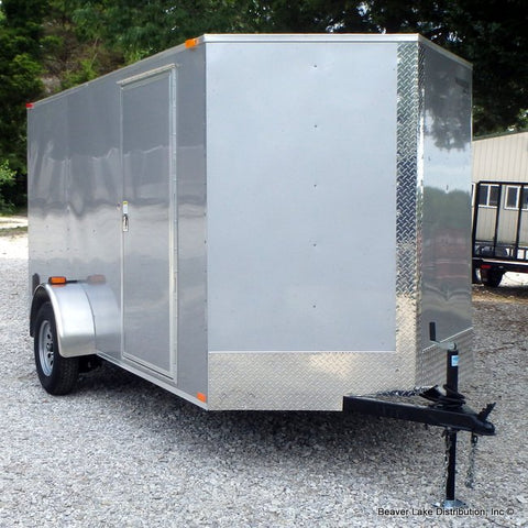 6X12 Single Axle Enclosed V-Nose Cargo Trailer with Extra Height and Rear Ramp