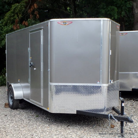 HH TRAILERS 6X12 Single Axle V-Nose Cargo Trailer Rear Ramp Radial Tires and LED Lights - Haul Supply