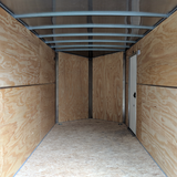 "7X14 Tandem Axle Slanted V-Nose Cargo Trailer 84"" Interior Rear Ramp Radial Tires and LED Lights"