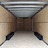 "8.5X24 Tandem Axle Slant V-Nose Cargo Trailer 84"" Interior Rear Ramp Radial Tires and LED Lights"