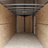 "7X16 Tandem Axle Slanted V-Nose Cargo Trailer 84"" Interior Rear Ramp Radial Tires and LED Lights"