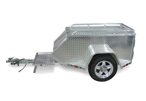45X26 Torsion Axle Tow Behind Motorcycle Trailer W/Lockable Lid, Luggage Rack & LED Lights