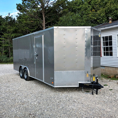 "8.5X20 Tandem Axle V-Nose Cargo Trailer 84"" Interior Rear Ramp Radial Tires and LED Lights"
