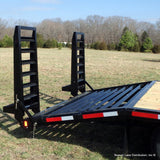 RICE TRAILERS 102x25 Tandem Axle Gooseneck Equipment Trailer with 5' Self Cleaning Dovetail 14k 5' Stand Up Ramps - Haul Supply