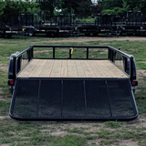LOAD TRAIL 77X14 Tandem Axle Utility Trailer 4' Fold In Gate Pipe Top Rails Radial Tires and LED Lights - Haul Supply
