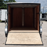 7X14 Tandem Axle V-Nose Cargo Trailer Rivetless Rear Ramp Radial Tires and LED Lights