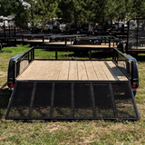 83X12 Tandem Axle Utility Trailer 4' Fold Gate Side Rails Radial Tires and LED Lights