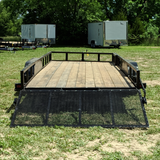 82X18 Tandem Axle Utility Trailer Rear Gate Side Rail Ramps Radial Tires and LED Lights