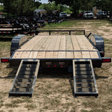83X18 Tandem Axle Car Hauler Slide-In Ramps Dove Tail Radial Tires and LED Lights