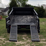 83X14 Tandem Axle Dump Trailer 3-Way Rear Gate Slide-In Ramps Radial Tires and LED Lights