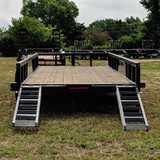82X20 Tandem Axle Equipment Trailer Fold-Up Ramps Side Rails Radial Tires and LED Lights