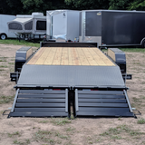 82X22 Tandem Axle 14K Equipment Trailer Fold-Up Ramps Radial Tires and LED Lights