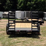 82X20 Tandem Axle 14K Equipment Trailer Fold Up Ramps Radial Tires and LED Lights
