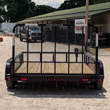 83X12 Tandem Axle Utility Trailer 4' Fold Gate Pipe Top Rails Radial Tires and LED Lights