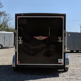 "7X14 Tandem Axle V-Nose Cargo Trailer 84"" Interior Rear Ramp Rivetless Radial Tires and LED Lights"