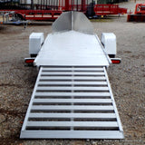 51X10 Single Axle Aluminum Motorcycle Trailer W/Rock Guard, Radial Tires & LED Lights