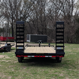 "LOAD TRAIL 102X20 Tandem Axle Equipment Trailer 6' Fold Up Ramps 16"" Radial Tires and LED Lights - Haul Supply"