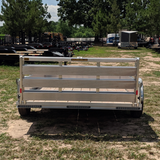 HH TRAILERS 76X12 Single Axle Aluminum Solid Sides Utility Trailer Bi-Fold Gate Radial Tires and LED Lights - Haul Supply