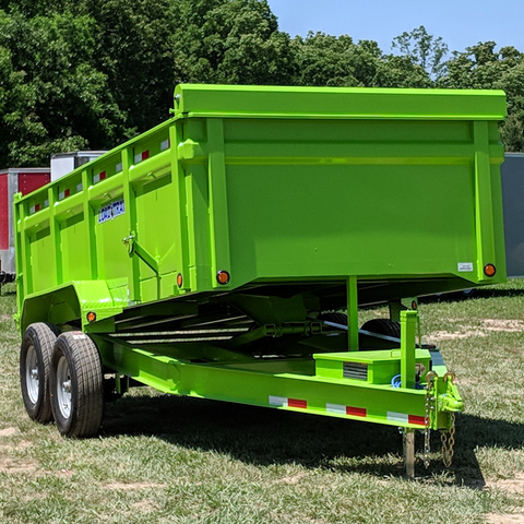 "83X14 Tandem Axle Dump Trailer 36"" Side 3-Way Rear Gate Slide-In Ramps Radials and LED Lights"