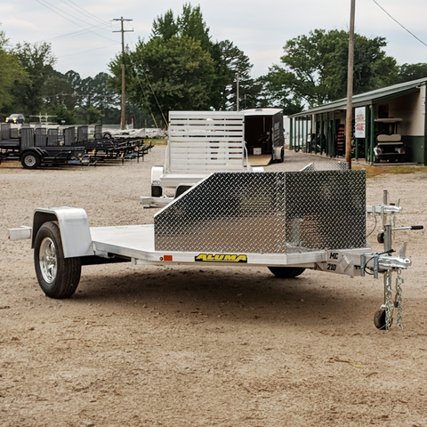 ALUMA, LTD. 6X11 Single Axle Aluminum Motorcycle Trailer Slide In Ramp Radial Tires and LED Lights - Haul Supply