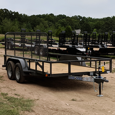 LOAD TRAIL 77X14 Tandem Axle Utility Trailer 4' Fold Gate Radial Tires and LED Lights - Haul Supply