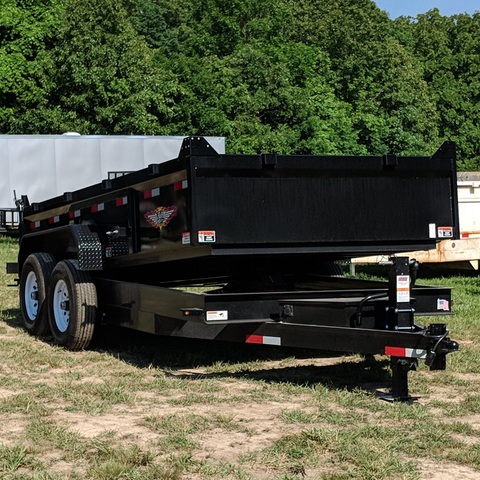83X14 Tandem Axle Dump Trailer Barn Door Gate Spreader Slide-In Ramps Radials and LED Lights