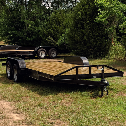82X18 Tandem Axle Car Hauler Slide-In Rear Ramps Radial Tires and LED Lights