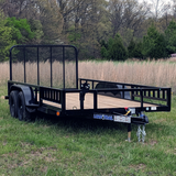 "77X16 Tandem Axle Utility Trailer 4"" Fold Up Gate Side Rails Radial Tires and LED Lights"