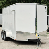 "7X14 Tandem Axle V-Nose Cargo Trailer 84"" Interior Rear Ramp Radial Tires and LED Lights"