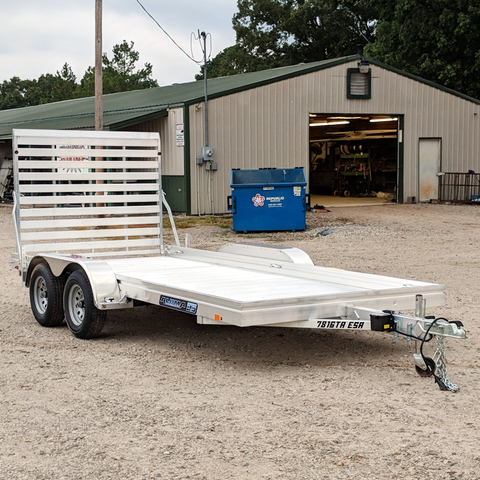 ALUMA, LTD. 76X16 Tandem Axle Aluminum Utility Trailer 5' Rear Ramp Radial Tires and LED Lights - Haul Supply