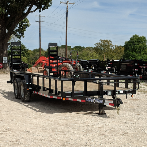 83X20 Tandem Axle 14K Equipment Trailer Fold Up Ramps Dovetail Radial Tires and LED Lights