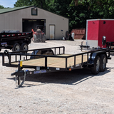 83X16 Tandem Axle Utility Trailer Slide In Ramps Radial Tires and LED Lights