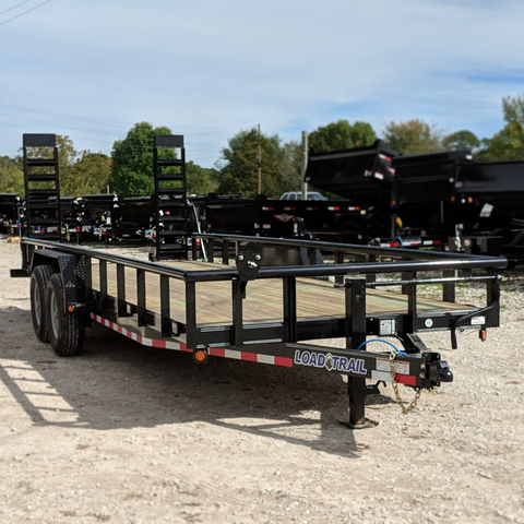 83X22 Tandem Axle Equipment Trailer Fold Up Ramps Radial Tires and LED Lights